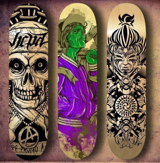 arte sobre skateboards