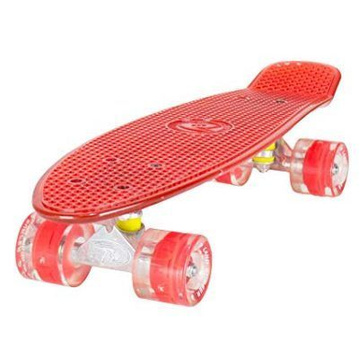 Skateboards land surfer